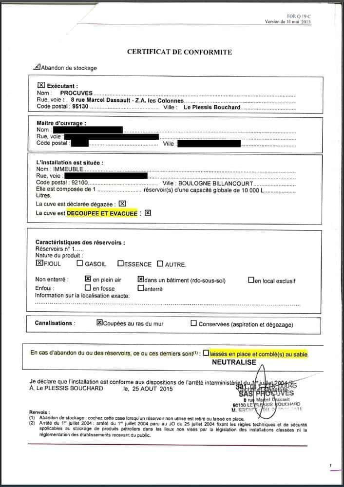 certificat conformité cuve à fioul
